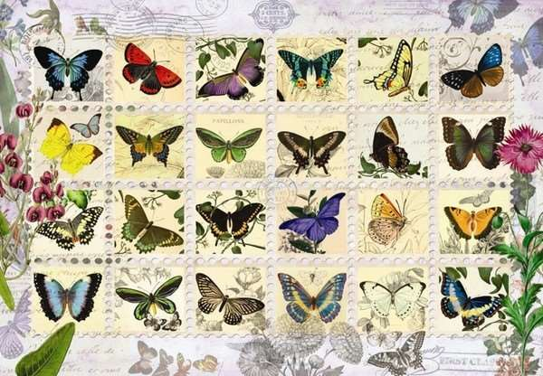 Butterfly Stamps - 500pc jigsaw puzzle