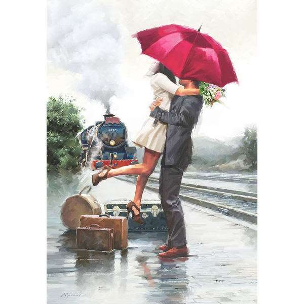 Couple in Train Station - 500pc jigsaw puzzle