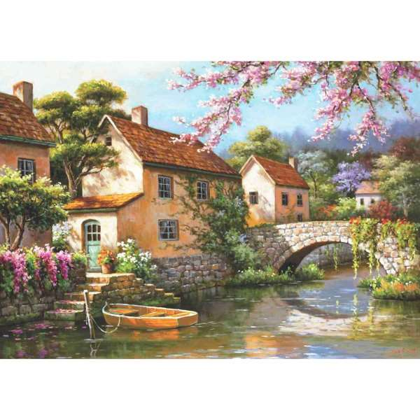 Country Village Canal - 1500pc jigsaw puzzle
