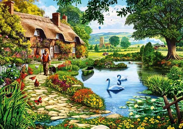 Cottage by the Lake - 1000pc jigsaw puzzle