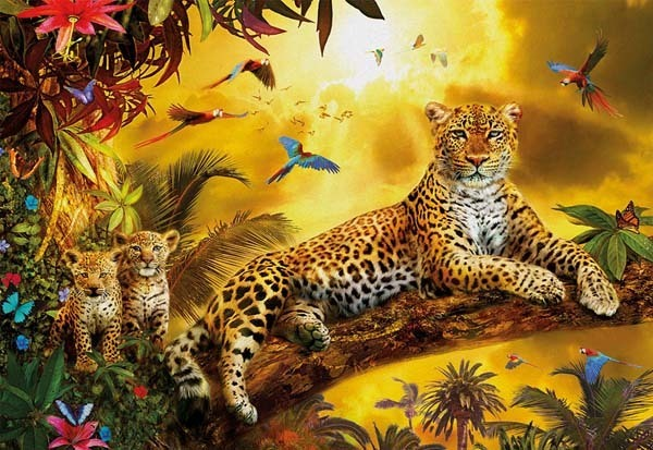 Leopard and His Cubs - 500pc jigsaw puzzle