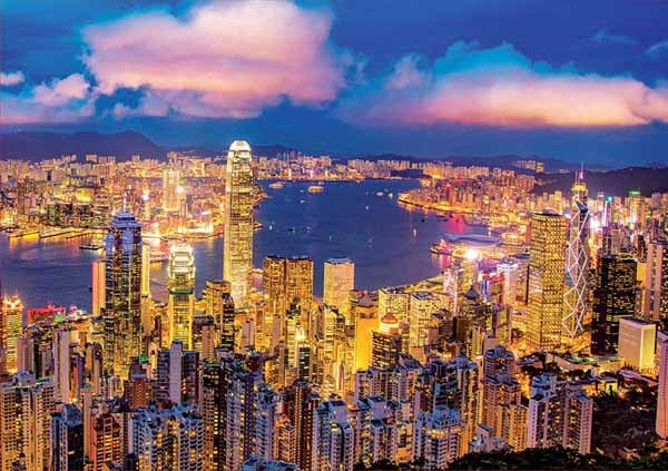 Hong Kong Skyline - Neon - 1000pc jigsaw puzzle