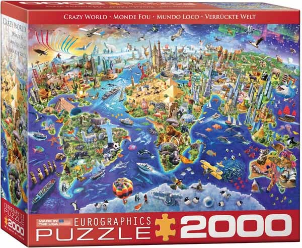 Crazy World Map - 2000pc Jigsaw Puzzle from Jigsaw Puzzles Direct