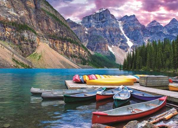 Lake Louise - Canoes on the Lake - 1000pc jigsaw puzzle