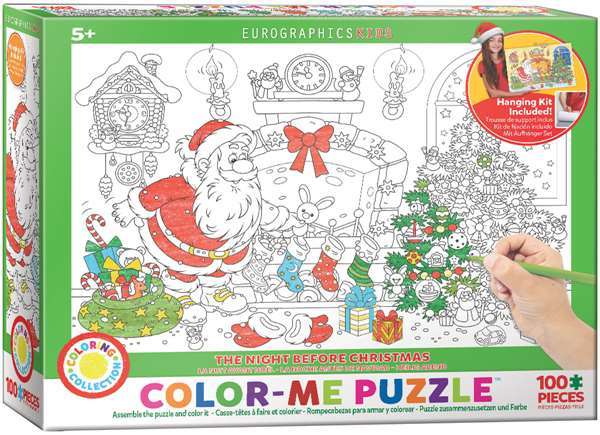 Night Before Christmas - Colour-Me Puzzle - 100pc jigsaw puzzle