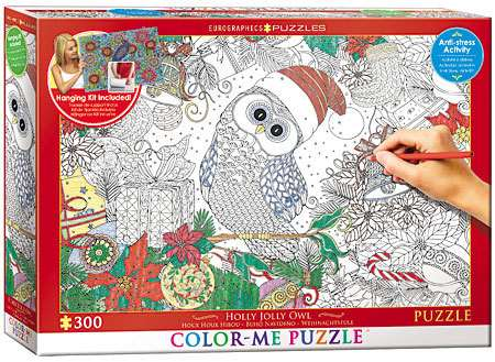 Holly Jolly Owl - Colour-Me Puzzle - 300pc jigsaw puzzle