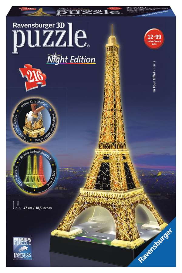 Eiffel Tower at Night - 3D jigsaw puzzle