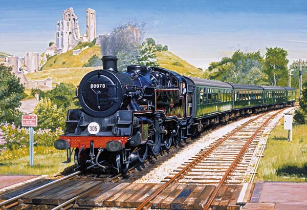 Corfe Castle Crossing - 500pc jigsaw puzzle