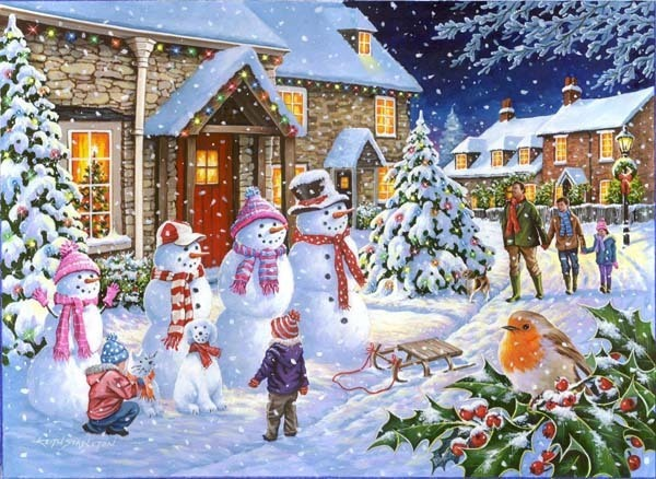 Snow Family - 1000pc jigsaw puzzle