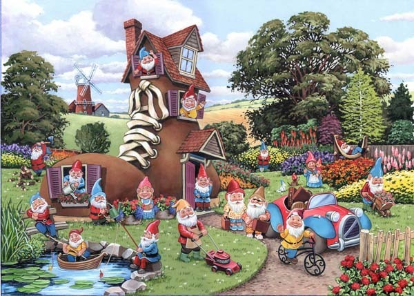 Gnome and Away - Big 500pc jigsaw puzzle