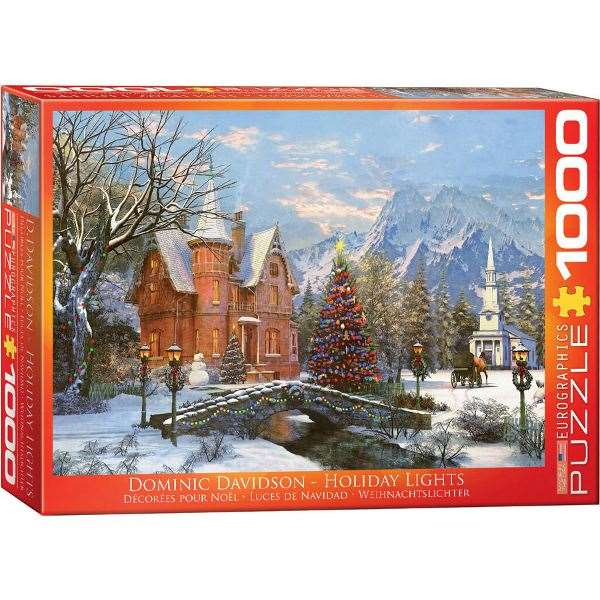 holiday lights davidson 1000pc jigsaw puzzle from jigsaw puzzles direct order today and. Black Bedroom Furniture Sets. Home Design Ideas