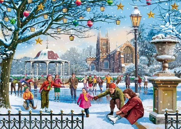 Festive Skaters - 1000pc jigsaw puzzle