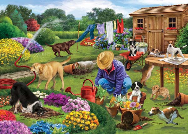Garden Dogs - 1000pc jigsaw puzzle