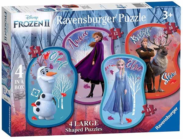 Disney Frozen II - 4 Shaped Puzzles - 10, 12, 14 and 16pc jigsaw puzzle