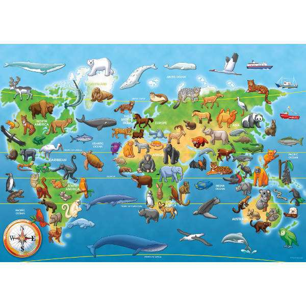 Endangered Animals Giant Floor Puzzle 60pc Jigsaw