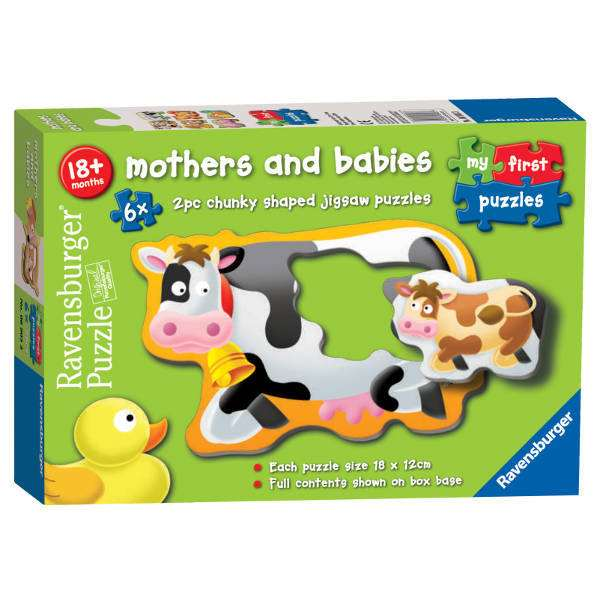Mothers and Babies - 6 x 2-piece puzzles jigsaw puzzle