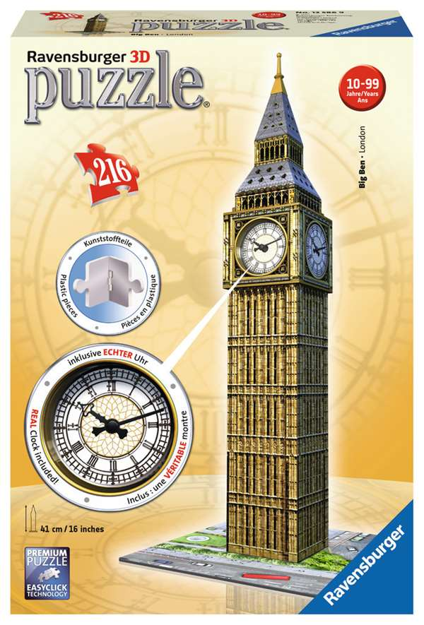 Big Ben - 3D Puzzle with Clock - 216pc jigsaw puzzle