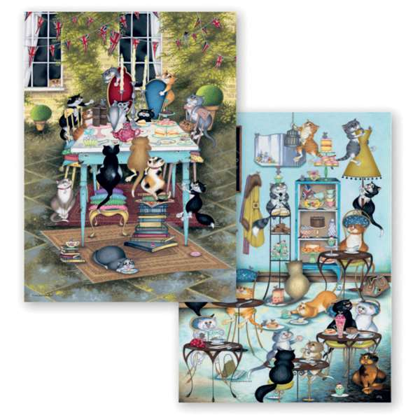 Crazy Cats - Tea Time Treats - 2 x 500 Piece jigsaw puzzle