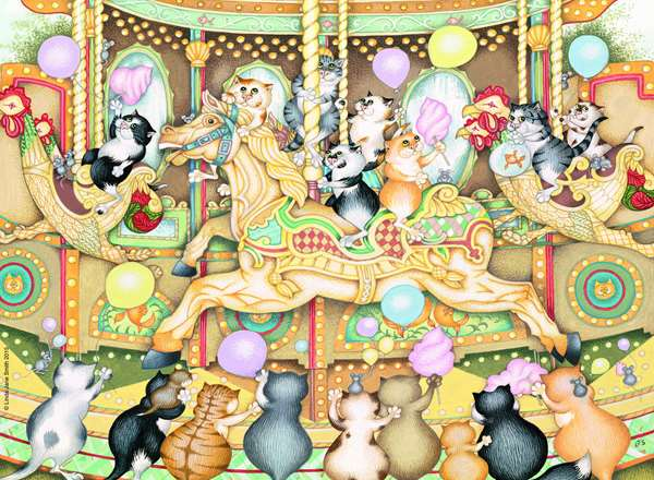 Crazy Cats - On The Carousel - 500pc jigsaw puzzle
