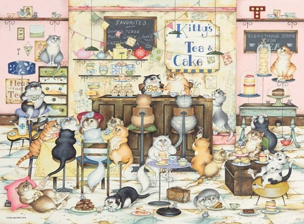 Crazy Cats Vintage - Kittys Cakes - 500pc jigsaw puzzle