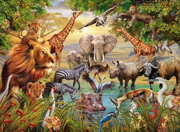 Animals at the Waterhole - 500pc jigsaw puzzle