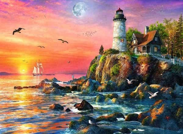 Lighthouse at Sunset - 500pc jigsaw puzzle