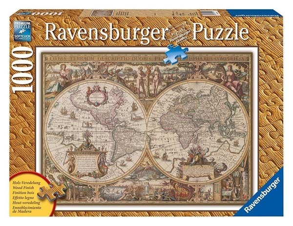 Antique world map wood effect finish 1000pc jigsaw puzzle from antique world map wood effect finish 1000pc jigsaw puzzle gumiabroncs Images