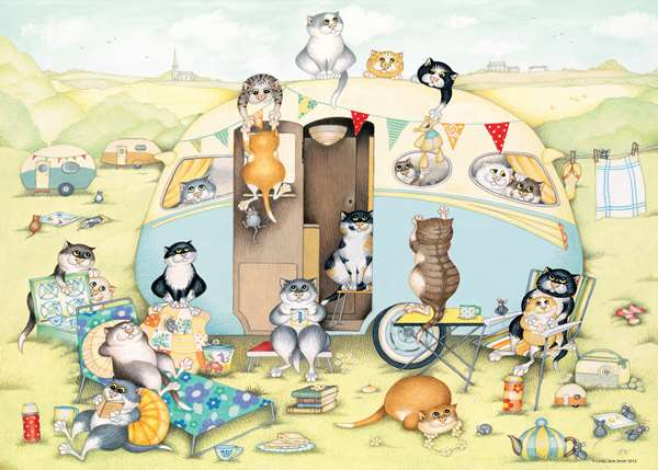 Crazy Cats - Vintage No 2 - The Caravan - 1000pc jigsaw puzzle