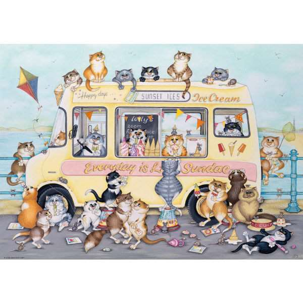 Crazy Cats - Vintage Sunset Ices - 1000pc jigsaw puzzle