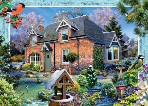Country Cottage Snowdrop Cottage - 1000pc jigsaw puzzle