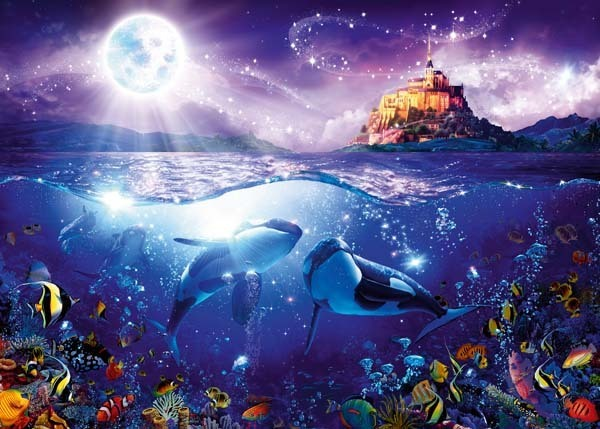 Whales in the Moonlight - 1000pc jigsaw puzzle