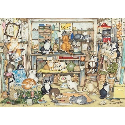 Crazy Cats - Vintage - Dads Shed - 1000pc jigsaw puzzle