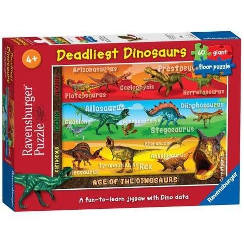 Deadliest Dinosaurs 60 Piece Floor Puzzle Jigsaw Puzzle