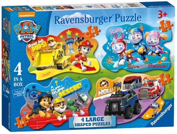 Paw Patrol - Four Large Shaped Puzzles - 10, 12, 14, 16pc jigsaw puzzle