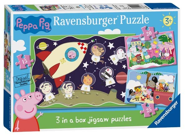 Peppa Pig - 3 in 1 - 15, 20 and 25pc jigsaw puzzle