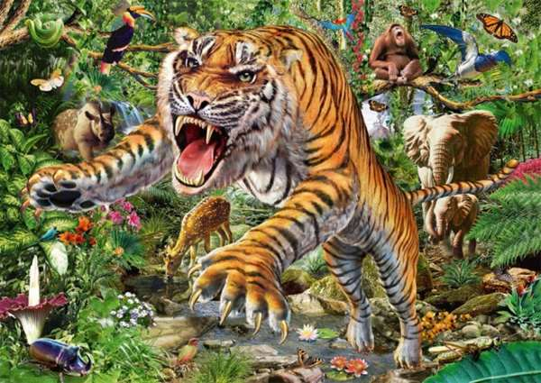 Tiger Attack - 500pc jigsaw puzzle