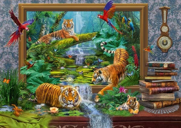 Tiger in the Jungle - 1000pc jigsaw puzzle