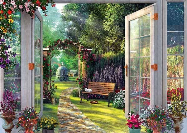 Dominic Davison - View of the Enchanted Garden - 1000pc jigsaw puzzle