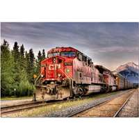 canadian pacific train entering banff