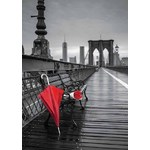 Red Umbrella - Brooklyn Bridge in Black and White - 1000pc