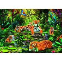 Tiger Family at the Waterhole - 1000pc
