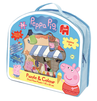 Peppa Pig - Giant Floor Puzzle and Colour - 24pc