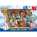 Toy Story 4 - Puzzle and Colour - 18pc