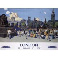 feeding the pigeons, trafalgar square - railway posters