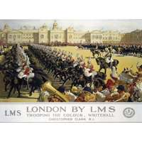 trooping the colour, whitehall - railway posters