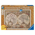 Antique World Map - Wood Effect Finish - 1000pc
